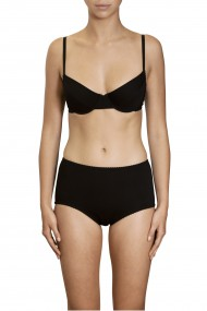 Black cotton underwired bra and high panties