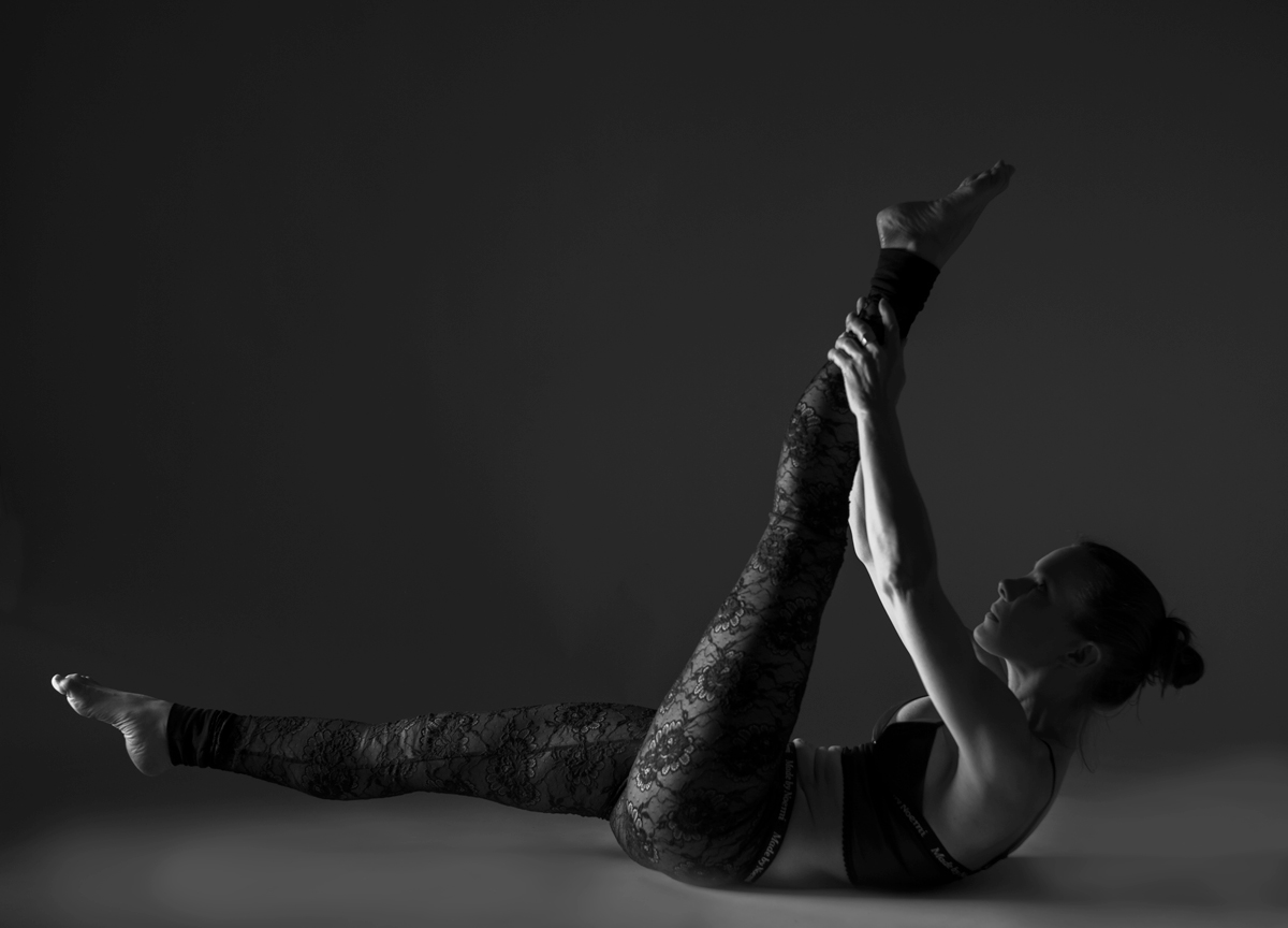 Pilates instructor Mona Stedenfeldt in SheerPower bustier & Lace leggings.