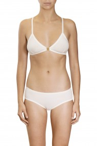 Off-white cotton bralette and panties