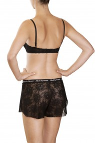Lace boxer shorts and underwired bra